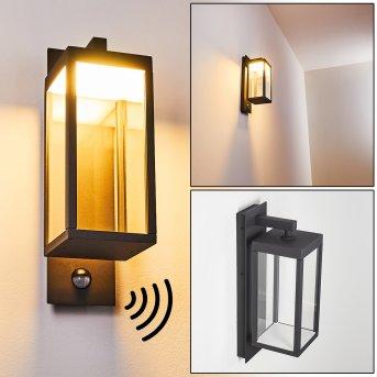 Faroer Aplique para exterior LED Antracita, 1 luz, Sensor de movimiento