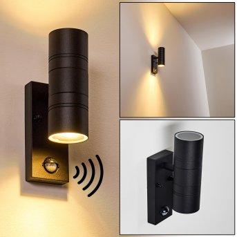 Froslev Aplique para exterior LED Negro, 2 luces, Sensor de movimiento