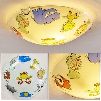 Pizzy Zoo Lámpara de Techo Cromo, Blanca, 2 luces