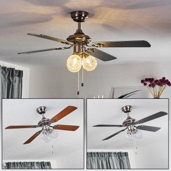 Estepona Ventilador de techo LED Cromo, Marrón, Blanca, 3 luces