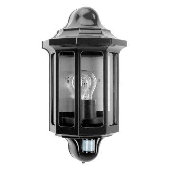 KS Verlichting Loreo Aplique Negro, 1 luz, Sensor de movimiento