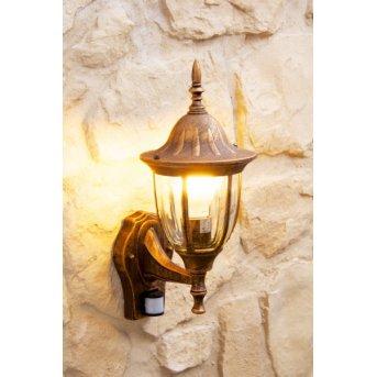 Ribadeo Aplique para exterior Marrón, oro, 1 luz, Sensor de movimiento