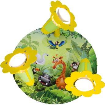 Elobra WILDNIS Plafón circular con focos Verde, 3 luces