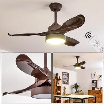 Doha Ventilador de techo LED Marrón, 1 luz, Mando a distancia