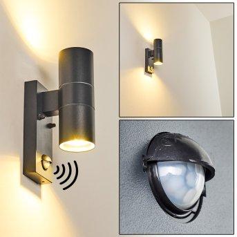 Brachy Aplique para exterior Gris, 2 luces, Sensor de movimiento