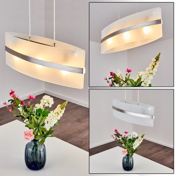 Avellino Lámpara colgante Acero inoxidable, Blanca, 3 luces