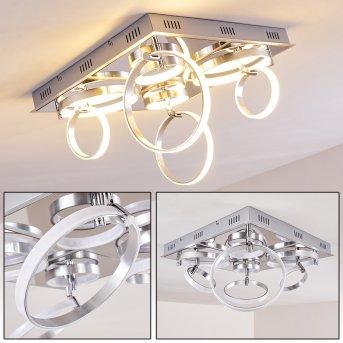 Aragno Lámpara de techo LED Níquel-mate, Cromo, 1 luz