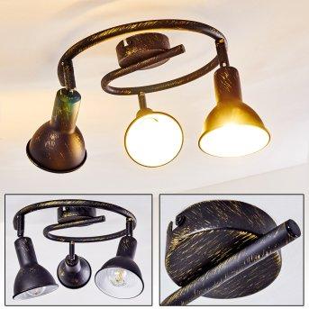 Polmak Lámpara de Techo Negro-dorado, 3 luces