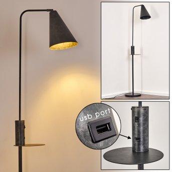 Terwispel Lámpara de Pie Negro, Gris, Antracita, 1 luz
