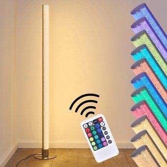 Pipe Lámpara de Pie LED Níquel-mate, 1 luz, Mando a distancia, Cambia de color