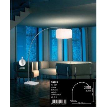 Globo LA NUBE Lámpara de pie Níquel-mate, Acero inoxidable, Blanca, 1 luz