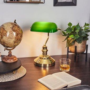 Lámpara banquero Latón, Verde, dorado, 1 luz