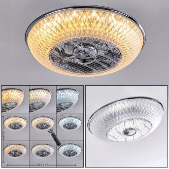 Sitges Ventilador de techo LED Cromo, 1 luz, Mando a distancia