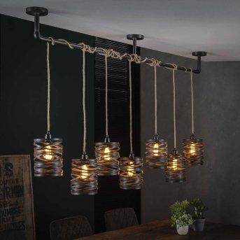 MARGETTE Lámpara Colgante Negro, 7 luces