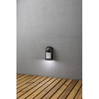 Konstsmide Prato Aplique LED Negro, 1 luz, Sensor de movimiento
