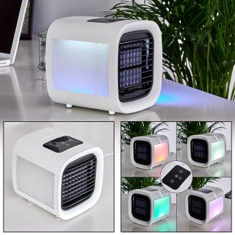 Chania Ventilador de mesa LED Negro, Blanca, 1 luz, Cambia de color