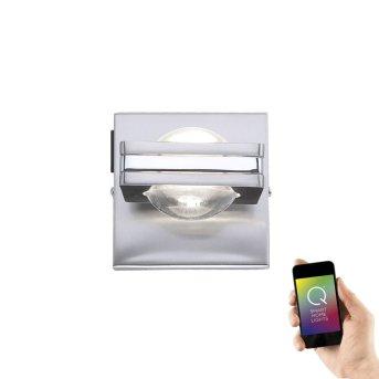 Aplique Paul Neuhaus Q-Fisheye LED Acero inoxidable, 2 luces, Mando a distancia, Cambia de color