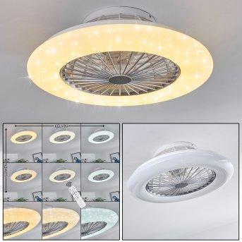 Piraeus Ventilador de techo LED Blanca, Titanio, 1 luz, Mando a distancia
