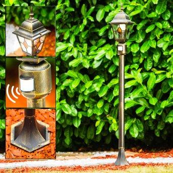 Antibes Poste de Jardín Marrón, oro, 1 luz, Sensor de movimiento