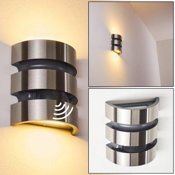 Kolding Aplique para exterior LED Negro, Acero inoxidable, 1 luz, Sensor de movimiento