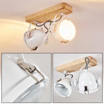 Lámpara de Techo Coruna Blanca, Madera clara, 2 luces