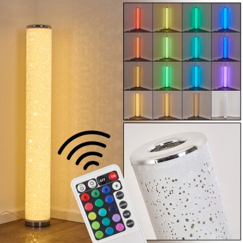 Tumba Lámpara de Pie LED Blanca, 1 luz, Mando a distancia, Cambia de color