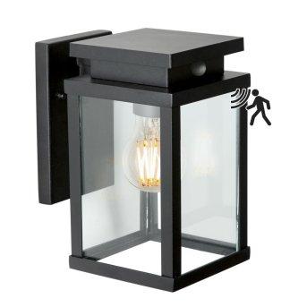 KS Verlichting Jersey Aplique Negro, 1 luz, Sensor de movimiento