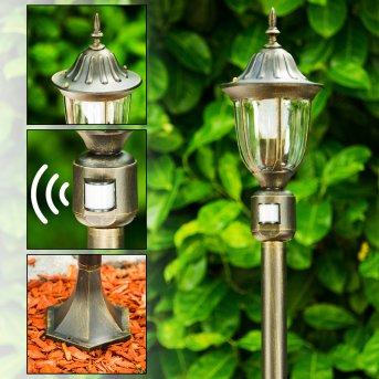 Ribadeo Poste de Jardín Negro-dorado, 1 luz, Sensor de movimiento