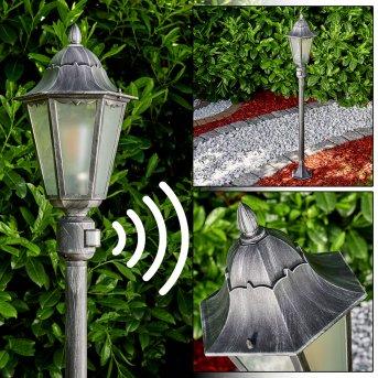 Lignac Lámpara de pie para exterior Negro, Plata, 1 luz, Sensor de movimiento
