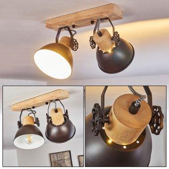 Lámpara de Techo Orny Antracita, Madera clara, 2 luces