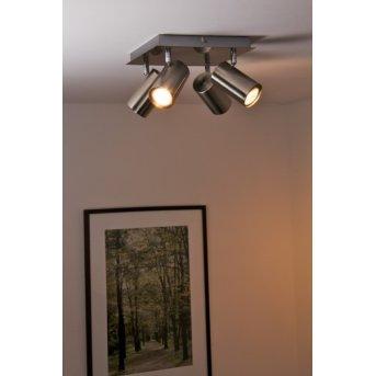 Trio 8024 Lámpara de techo Níquel-mate, Acero inoxidable, 4 luces