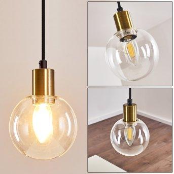 Quento Lámpara Colgante Negro-dorado, 1 luz