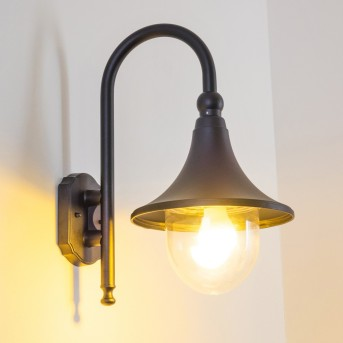 Elgin Aplique para exterior Negro, 1 luz