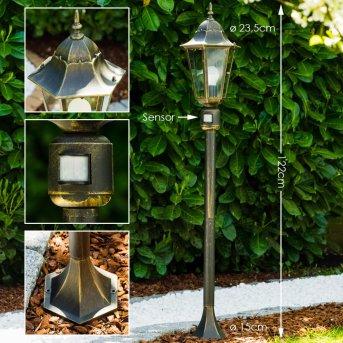 Bristol Lámpara de pie para exterior Latón, dorado, 1 luz, Sensor de movimiento