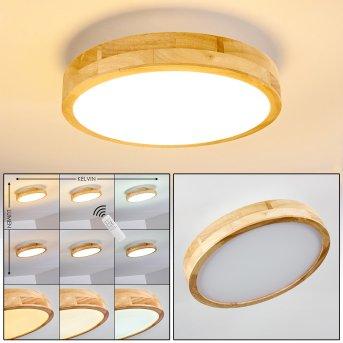Bagaha Lámpara de Techo LED Madera clara, 1 luz, Mando a distancia