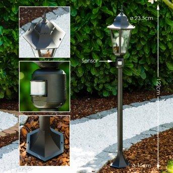 Bristol Lámpara de pie para exterior Negro, 1 luz, Sensor de movimiento
