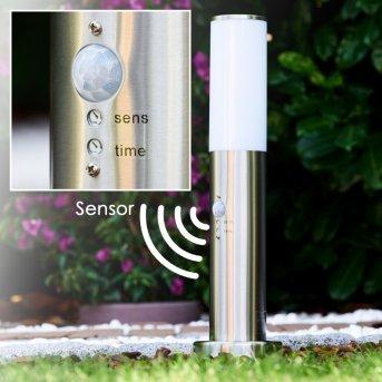 Caserta Poste de jardin Acero inoxidable, 1 luz, Sensor de movimiento