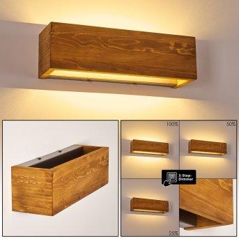 Adak Aplique LED Madera oscura, 1 luz