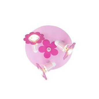 Elobra BLÜTE Plafón circular con focos Rosa, 3 luces