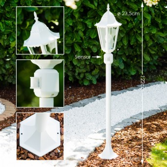 Bristol Lámpara de pie para exterior Blanca, 1 luz, Sensor de movimiento