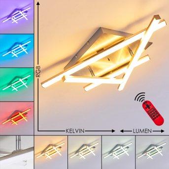 Eriz Lámpara de Techo LED Níquel-mate, 4 luces, Mando a distancia, Cambia de color