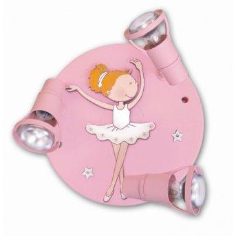 Waldi Ballerina Lámpara de techo Rosa, 3 luces