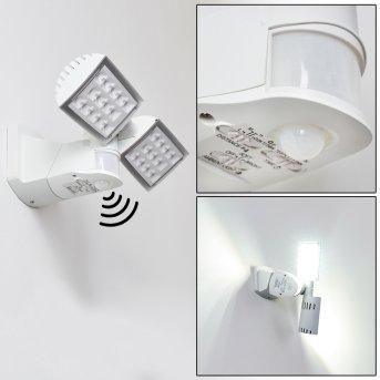 Loit Aplique para exterior LED Blanca, 2 luces, Sensor de movimiento