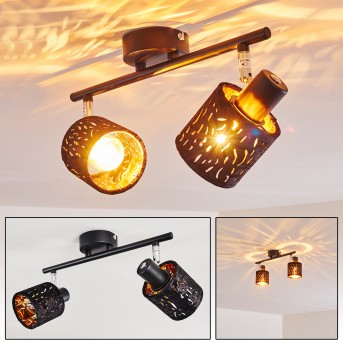 Liared Lámpara de Techo Negro, 2 luces