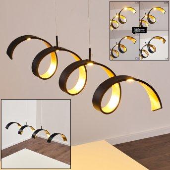 Rezat Lámpara Colgante LED Negro-dorado, 1 luz