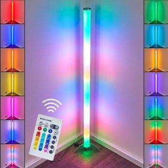 Globo ROCKY Lámpara de pie LED Plata, 1 luz, Mando a distancia, Cambia de color