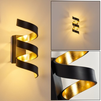 Rezat Aplique LED Negro-dorado, 1 luz