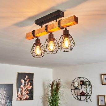 Barbengo Lámpara de Techo Negro, Madera clara, 3 luces