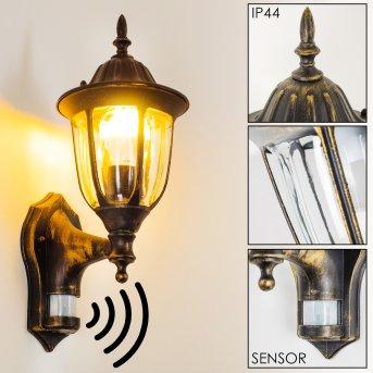 Ribadeo Aplique para exterior Negro-dorado, 1 luz, Sensor de movimiento