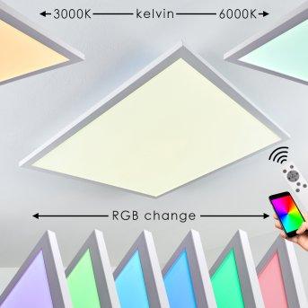 Salmi Lámpara de Techo LED Blanca, 1 luz, Mando a distancia, Cambia de color